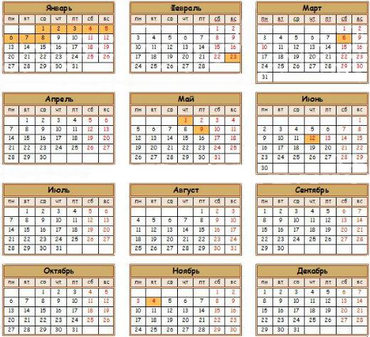 Календарь выходных и праздничных дней в 2014 году.