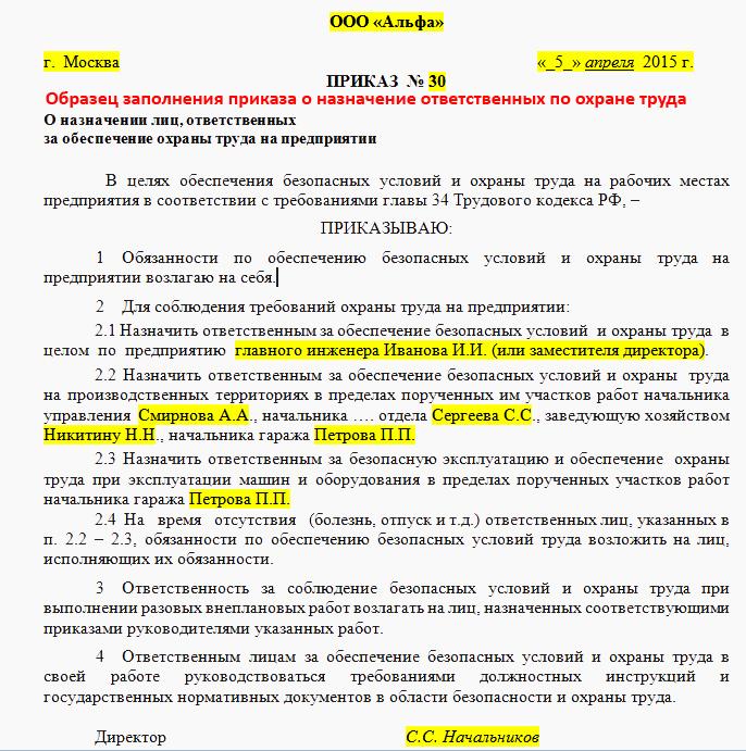 Образец приказа о назначении ответственного по охране труда сверкающая