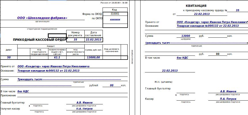 образец заполнения расходного кассового ордера на инкассирование выручки