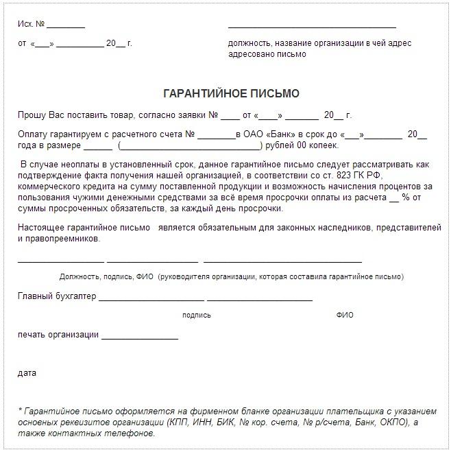 образец заполнения гарантийного письма на оплату