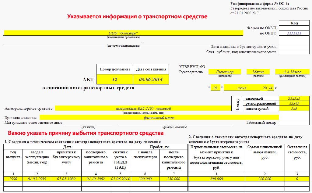 Акт на Утилизацию Основных Средств бланк
