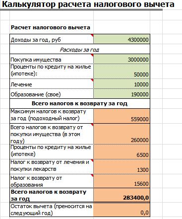 Калькулятор налогового вычета в Excel
