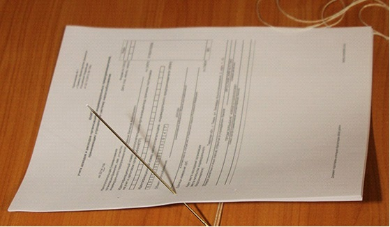 Как сшить документы нитками для налоговой: Этап №1
