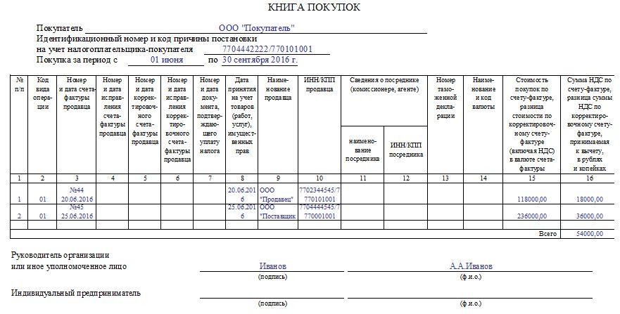 Пример регистрации с/ф в Книге покупок