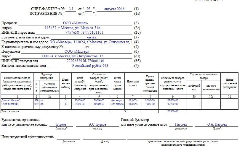Заполненый бланк счета фактуры