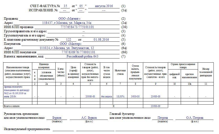 Пример заполнения счета-фактуры на услуги