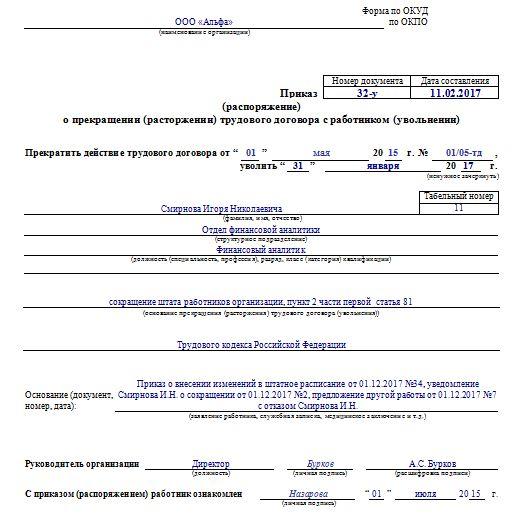 Пример оформления приказа