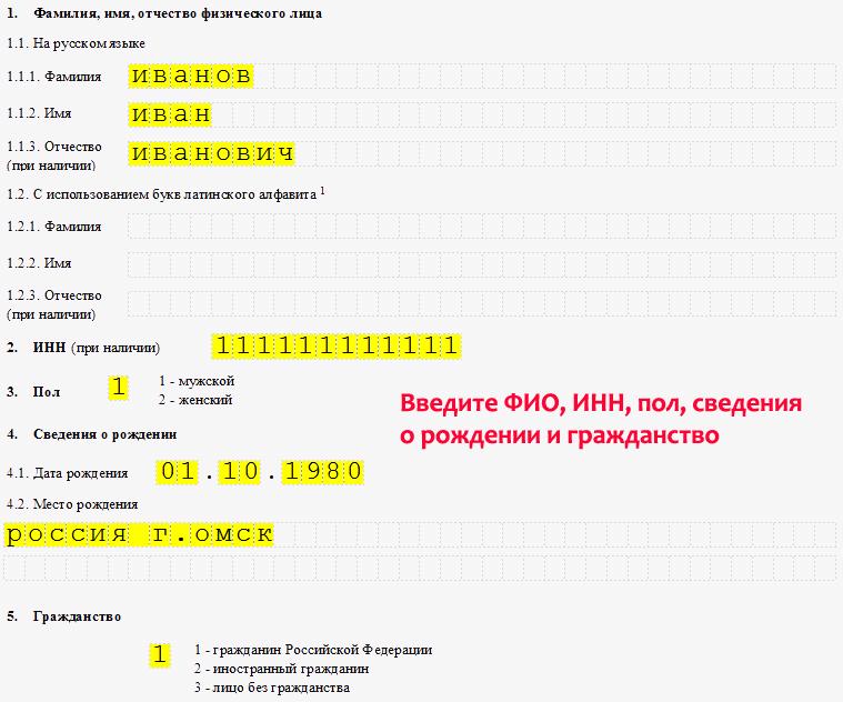 пример заполнения формы на регистрацию ип