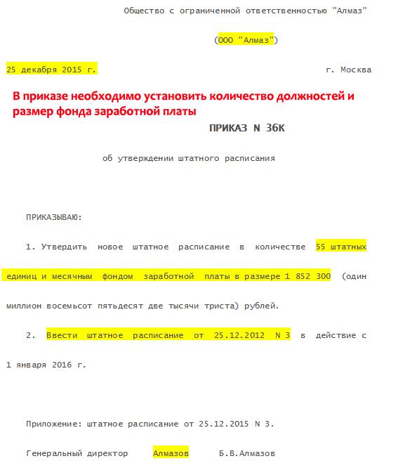 Приказ об утверждении штатного расписания. Образец заполнения