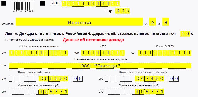Заполнение данных об источнике дохода в налоговой декларации (3 НДФЛ). Образец