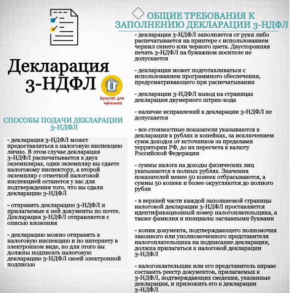 Общие требования к заполнению декларации 3-НФДЛ: