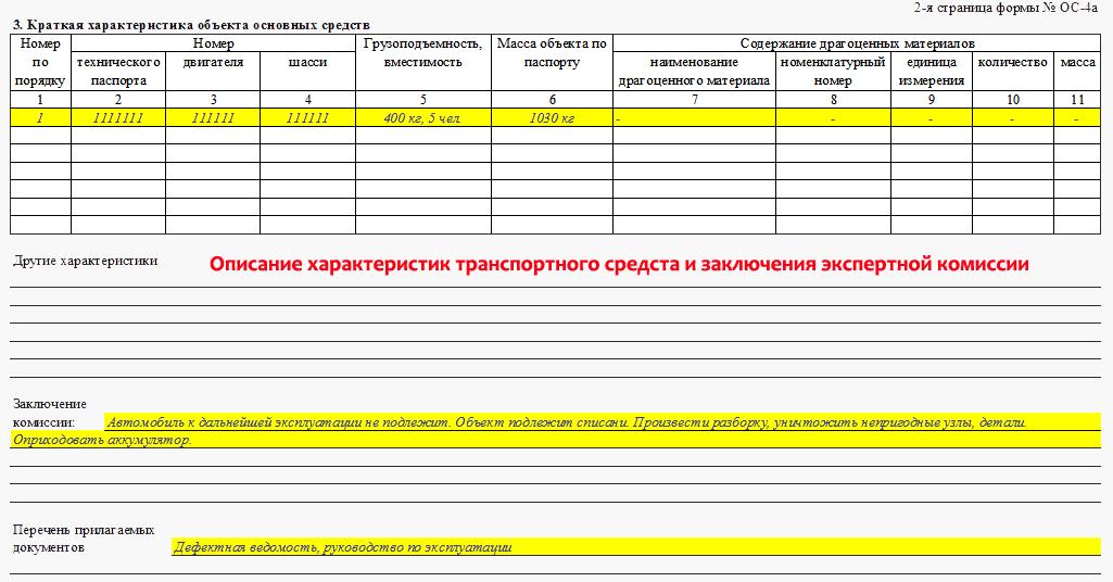 Форма ОС-4А. Акт на списание автомобиля (транспортного средства)