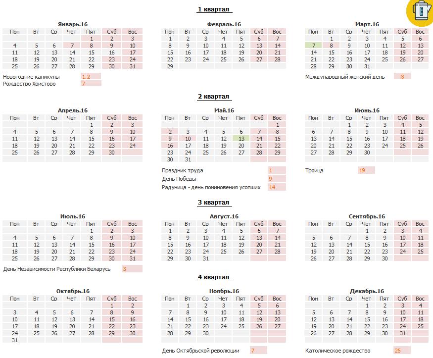 Производственный календарь Белорусь