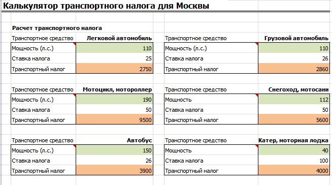 Калькулятор транспортного налога в excel: онлайн