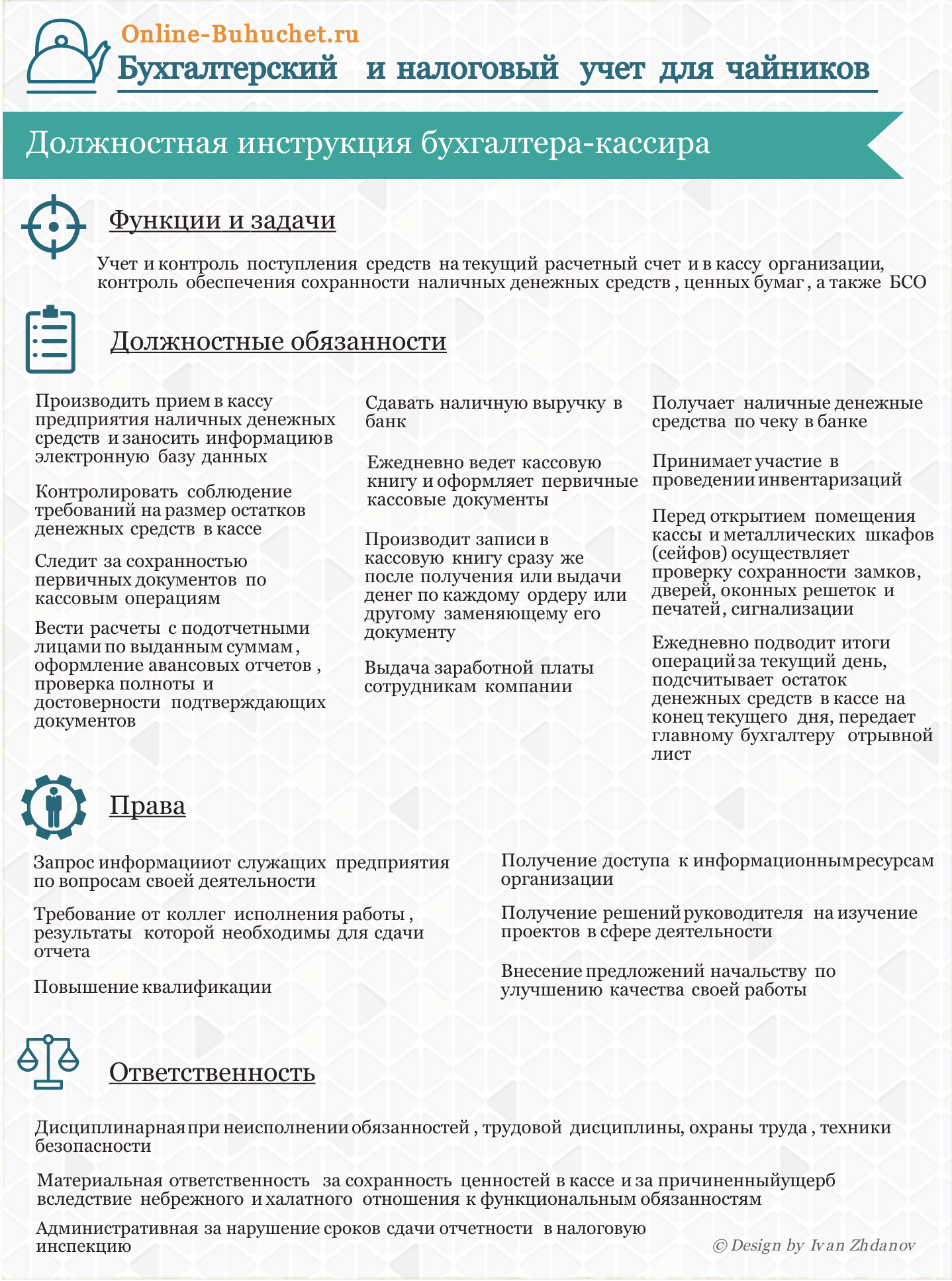 Должностная инструкция бухгалтера-кассира: образец заполнения в инфографике