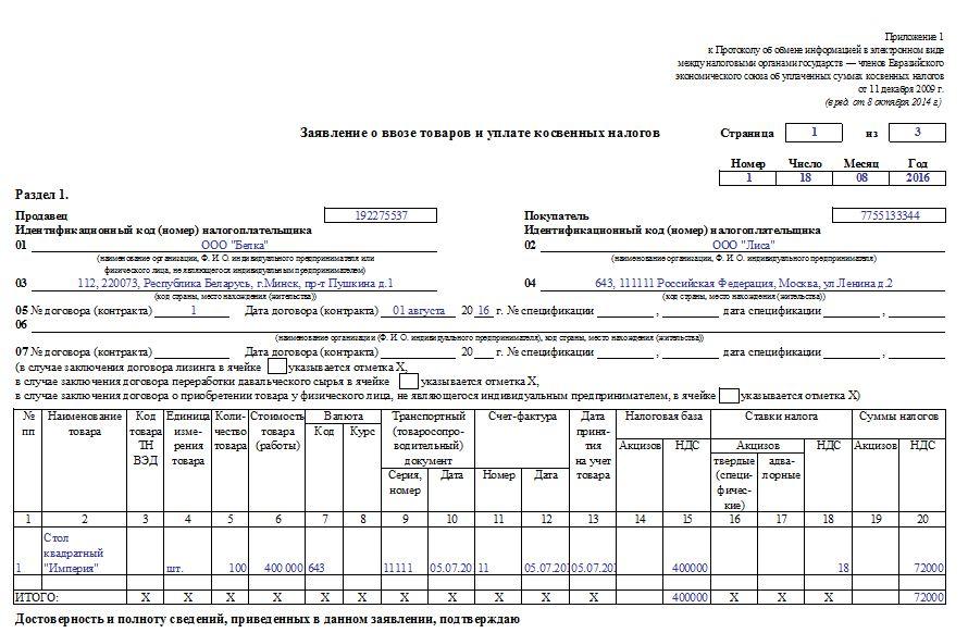 Пример заполнения заявления о ввозе товаров из Белоруссии