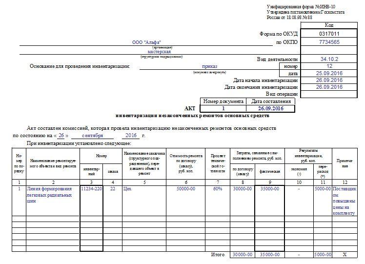 Акт инвентаризации незаконченных ремонтов основных средств. Лицевая сторона