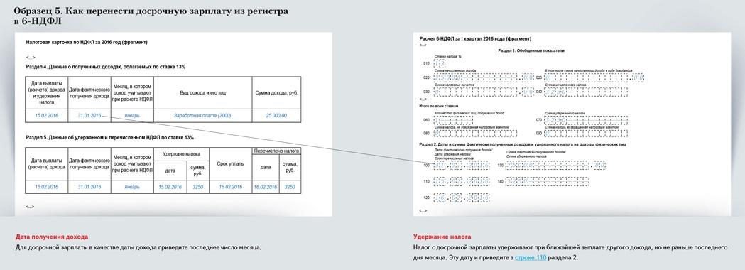 Образец переноса досрочной заработной платы из регистра в 6-НДФЛ